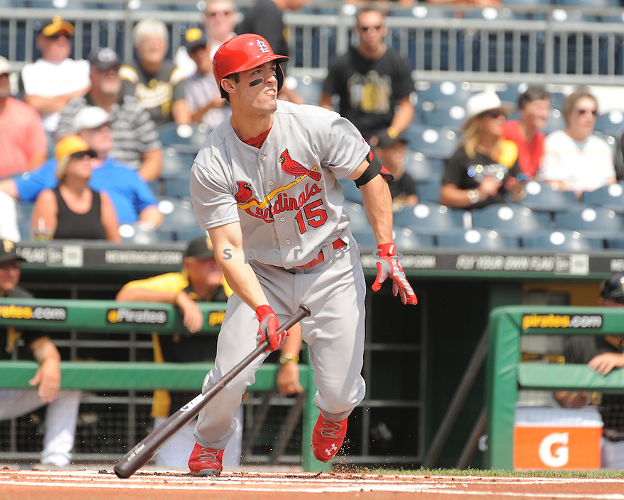 St. Louis Cardinals Randal Grichuk (15) during a game against the Pittsburgh Pirates on August 27, 2014 at PNC Park in Pittsburgh PA. The Pirates beat the Cardinals 3-1.