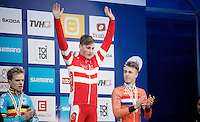 Men Juniors Podium:<br /> 1/ Simon Andreassen (DEN)<br /> 2/ Eli Iserbyt (BEL)<br /> 3/ Max Gulickx (NLD)<br /> <br /> 2015 UCI World Championships Cyclocross <br /> Tabor, Czech Republic