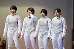 Japan team group (JPN),<br /> AUGUST 10, 2013 - Fencing :<br /> World Fencing Championships Budapest 2013, Women's Team Foil Round of 16 at Syma Hall in Budapest, Hungary. (Photo by Enrico Calderoni/AFLO SPORT) [0391](L to R) Shiho Nishioka, Haruka Yanaoka, Karin Miyawaki, Minami Kano
