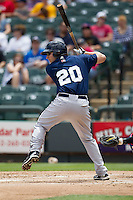 New Orleans Zephyrs third baseman Ben Lasater #20 at bat against the Round Rock Express in the Pacific Coast League baseball game on April 21, 2013 at the Dell Diamond in Round Rock, Texas. Round Rock defeated New Orleans 7-1. (Andrew Woolley/Four Seam Images).