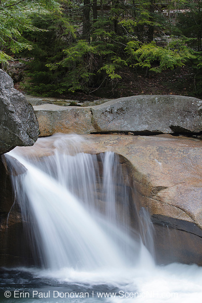"""The Basin"" in Franconia Notch State Park of the White Mountains, New Hampshire during the spring months. This natural feature is along the Pemigewasset River."