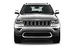 Car photography straight front view of a 2017 JEEP Grand-Cherokee Limited 5 Door SUV Front View
