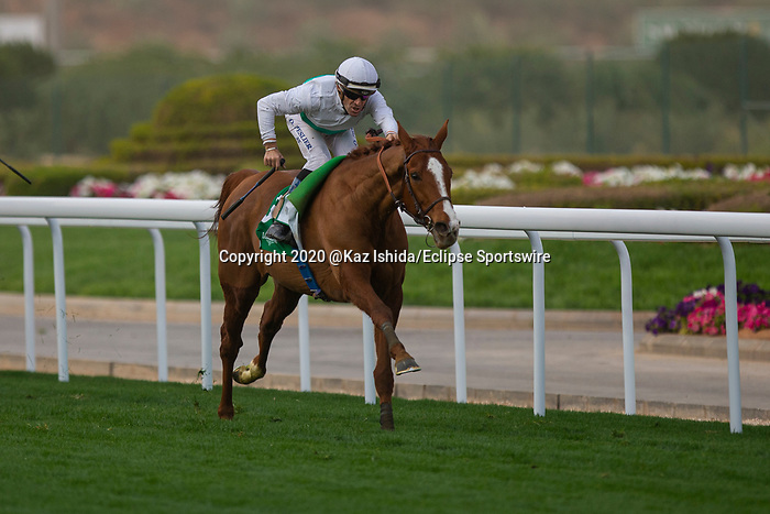 RIYADH,SAUDI ARABIA-FEB 29: Call the WInd,ridden by Olivier Peslier,wins the Longines Turf Handicap at King Abdulaziz Racetrack on February 29,2020 in Riyadh,Saudi Arabia. Kaz Ishida/Eclipse Sportswire/CSM