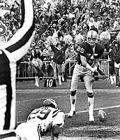 Raiders Fred Biletnikoff spikes the ball in front of Minnesota Vikings Phil Wise after scoring TD. (1978 photo/Ron Riesterer)
