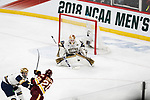 ST PAUL, MN - APRIL 7: Karson Kuhlman #20 of the Minnesota-Duluth Bulldogs scores a goal past Cale Morris #32 of the Notre Dame Fighting Irish during the Division I Men's Ice Hockey Semifinals held at the Xcel Energy Center on April 7, 2018 in St Paul, Minnesota. (Photo by Carlos Gonzalez/NCAA Photos via Getty Images)