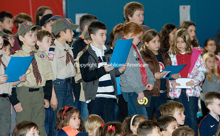 SOUTHBURY, CT. 06 November 2012-110912SV02-Students sing a song for veterans at Pomperaug Elementary School during a Veterans Day event at the school in Southbury Friday..Steven Valenti Republican-American