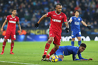Jordan Ayew of Swansea wins possession from Demarai Gray of Leicester City during the Premier League match between Leicester City and Swansea City at the King Power Stadium, Leicester, England, UK. Saturday 03 February 2018