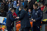 Blackburn Rovers 3 Shrewsbury Town 1, 14/01/2018. Ewood Park, League One. Opposing managers Paul Hurst and Tony Mowbray exchange a handshake before Blackburn Rovers played Shrewsbury Town in a Sky Bet League One fixture at Ewood Park. Both team were in the top three in the division at the start of the game. Blackburn won the match by 3 goals to 1, watched by a crowd of 13,579. Photo by Colin McPherson.