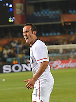 Landon Donovan celebrates the match's final whistle. The United States won Group C of the 2010 FIFA World Cup in dramatic fashion, 1-0, over Algeria in Pretoria's Loftus Versfeld Stadium, Wednesday, June 23rd..