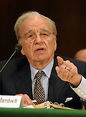 "News Corporation Chairman and CEO Rupert Murdoch testifies before the United States Senate Committee on the Judiciary Subcommittee on Antitrust, Competition, and Business and Consumer Rights on ""The NewsCorp/Direct TV Deal: The Marriage of Content and Global Distribution"" in Washington, DC on June 18, 2003....."