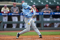Logan Warmoth (7) of the North Carolina Tar Heels makes contact with the baseball during the game against the Boston College Eagles in Game Five of the 2017 ACC Baseball Championship at Louisville Slugger Field on May 25, 2017 in Louisville, Kentucky.  The Tar Heels defeated the Eagles 10-0 in a game called after 7 innings by the Mercy Rule. (Brian Westerholt/Four Seam Images)