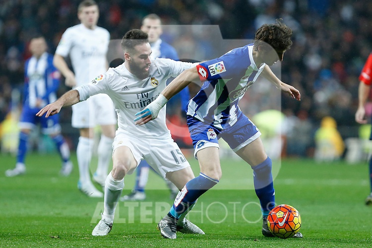Real Madrid´s Daniel Carvajal and Deportivo de la Coruna´s Mosquera during 2015/16 La Liga match between Real Madrid and Deportivo de la Coruna at Santiago Bernabeu stadium in Madrid, Spain. January 09, 2015. (ALTERPHOTOS/Victor Blanco)
