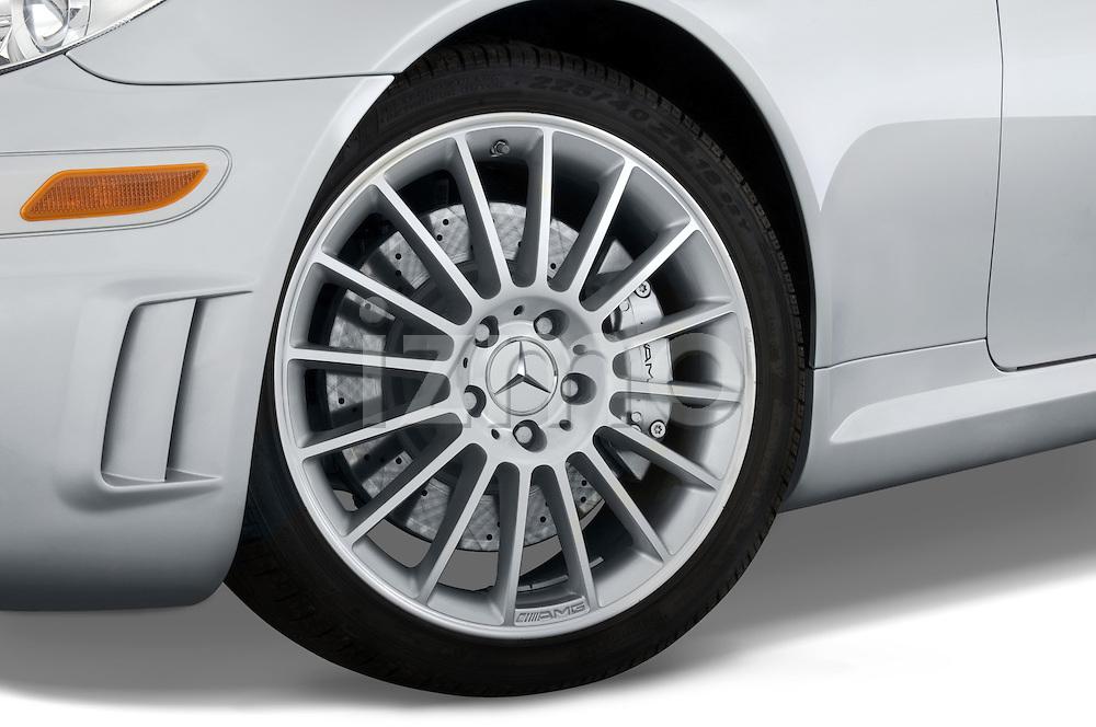 Close up wheel detail of a Mercedes Benz SLK Class sports car