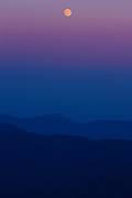 Moonrise from the summit of Mount Washington in the White Mountains, New Hampshire.