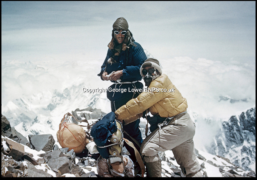BNPS.co.uk (01202) 558833.Pic: George Lowe/Thames&Hudson..***Must Use Full Byline***..Nearing the summit - Hillary and Tenzing at 27,300ft high on the South-East Ridge...Never-before-seen photographs of the famous British Mount Everest conquest in 1953 have come to light 60 years after the historic ascent...The snaps were taken by expedition member George Lowe who documented the historic first ever trek to the summit of the world's tallest peak...Many of Lowe's photographs have been widely published before but these eight images were kept by Lowe, possibly because he thought the others were better...Now, nearly 60 years to the day Sir Edmund Hillary became the first man in the world to conquer Everest, the pictures have been made available for a new book to commemorate the feat.