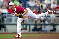 Indiana Hoosiers pitcher Aaron Slegers (31) follows through with his pitch against the Oregon State Beavers during Game 9 of the 2013 Men's College World Series  on June 19, 2013 at TD Ameritrade Park in Omaha, Nebraska. The Beavers defeated the Hoosiers 1-0, eliminating Indiana from the tournament. (Andrew Woolley/Four Seam Images)