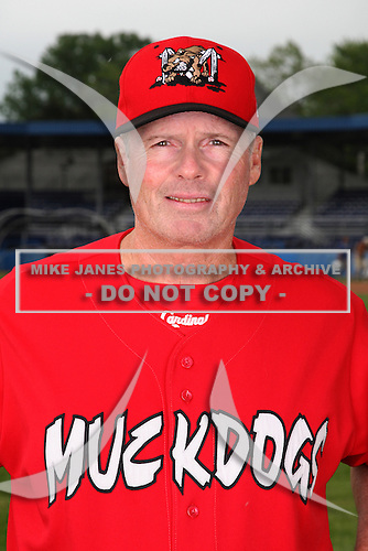 Batavia Muckdogs Pitching Coach Ace Adams poses for a photo before minicamp team practice at Dwyer Stadium in Batavia, New York June 14, 2010.   Photo By Mike Janes/Four Seam Images