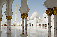 The Sheikh Zayed Grand Mosque in Abu Dhabi, also known as the White Mosque, is a masterpiece of architecture and craftsmanship. Inlaid with decorative centuries old Iznik patterns from Anatolia, the columns support gilded palm fronds. The palm tree features 20 times across 20 different subjects in the Koran.