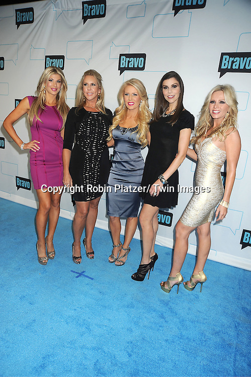 Real Housewives of Orange County, Alexis Bellino,Vicki Gunvalson, Gretchen  Rossi, Heather Dubrow and Tamra Barney  attend the Bravo Upfront on April 4, 2012 at 548 West 22nd Street in New York City.