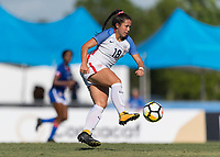 Bradenton, FL - Sunday, June 10, 2018: Sunshine Fontes during a U-17 Women's Championship match between the United States and Haiti at IMG Academy.  USA defeated Haiti 3-2 to advance to the finals.