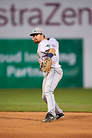 Lynchburg Hillcats second baseman Dillon Persinger (38) throws to first base for the out during the second game of a doubleheader against the Frederick Keys on June 12, 2018 at Nymeo Field at Harry Grove Stadium in Frederick, Maryland.  Frederick defeated Lynchburg 8-1.  (Mike Janes/Four Seam Images)