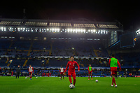 3rd March 2020; Stamford Bridge, London, England; English FA Cup Football, Chelsea versus Liverpool; Takumi Minamino of Liverpool during the warm up
