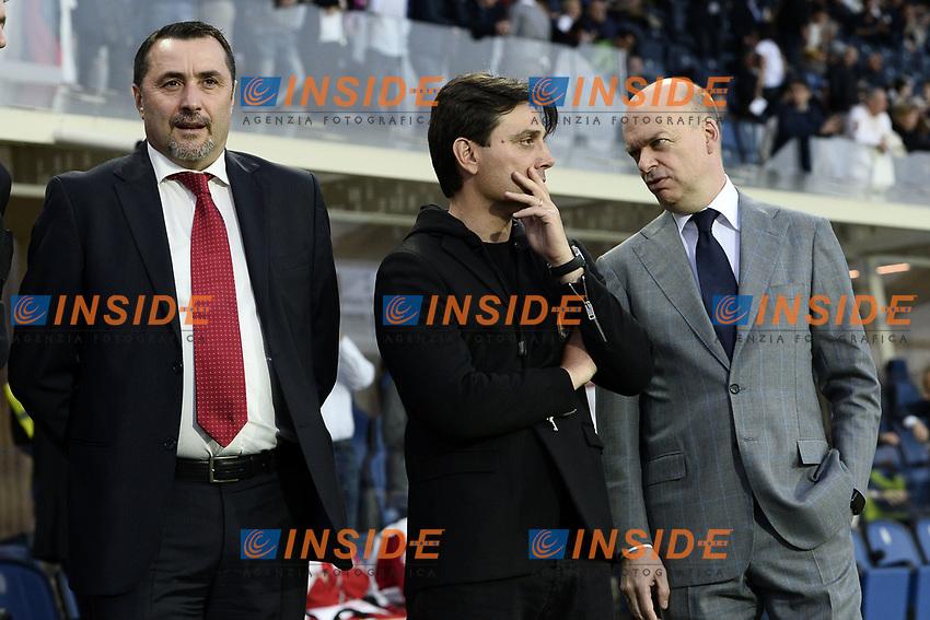 Bergamo 13-05-2017 Football Calcio Serie A 2016/2017 Atalanta - Milan  Foto Image Sport/Insidefoto<br /> nella foto: Vincenzo Montella-Marco Fassone-Massimiliano Mirabelli
