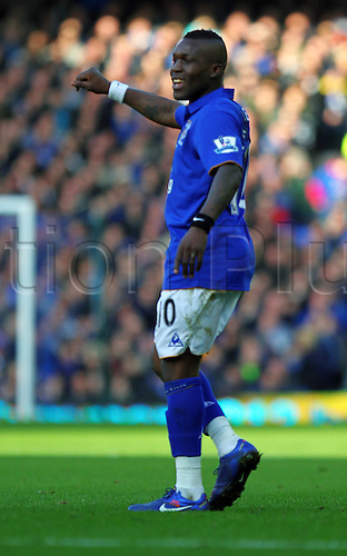 18.2.2012 Liverpool, England. Goalscorer and Everton Dutch Midfielder Royston Drenthe in action during the Budweiser FA Cup match between Everton and Blackpool, played at Goodison Park. Everton won by a score of 2-0 to move into the 6th round.