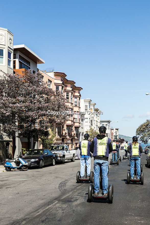 A Segway tour with the San Francisco Electric Tour Company takes you through historic streets in the North Beach neighborhood. San Francisco, California. (pictured: Stockton Street)