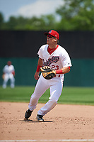 Auburn Doubledays first baseman Chance Shepard (23) during the first game of a doubleheader against the Mahoning Valley Scrappers on July 2, 2017 at Falcon Park in Auburn, New York.  Mahoning Valley defeated Auburn 3-0.  (Mike Janes/Four Seam Images)