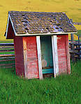 Wallowa County, OR<br /> The weathered and tastefully painted outhouse of the Hubbard Ranch on the Zumwalt Praire Preserve, a Nature Conservancy Preserve