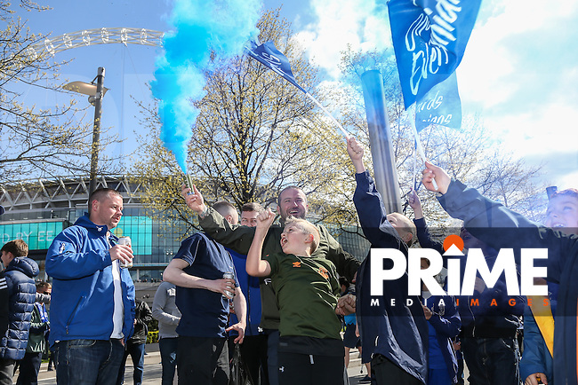 Everton fans ahead of the FA Cup Semi-Final match between Everton and Manchester United at Wembley Stadium, London, England on 23 April 2016. Photo by David Horn / PRiME Media Images.