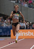 Jana Veldakova (SVK) as she competes in the Long Jump during the Sainsbury's Anniversary Games, Athletics event at the Olympic Park, London, England on 25 July 2015. Photo by Andy Rowland.