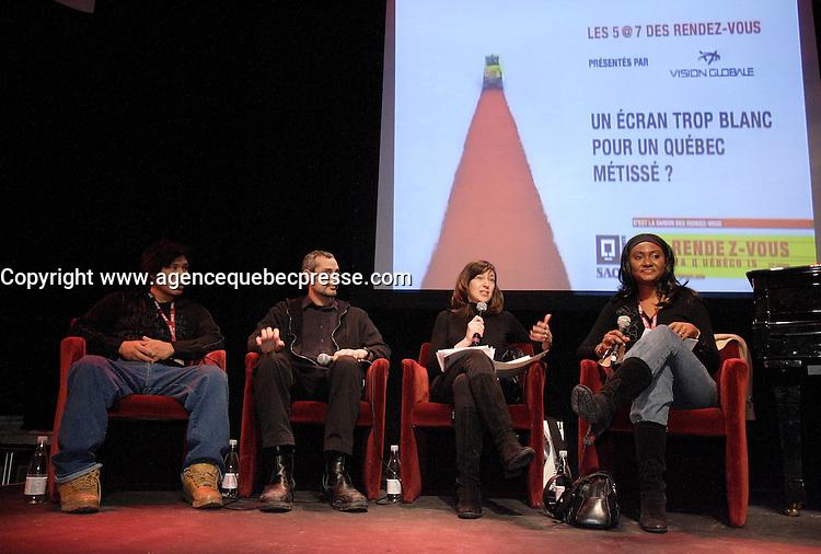 Montreal (Quebec) CANADA - Feb 21 2009 - <br /> <br /> Kevin Papatie, Karim Hussein, MARIE-LOUISE ARSENAULT animatrice, Fabienne Colas, <br /> 5 a 7 Un &Egrave;cran trop blanc pour un Qu&Egrave;bec m&Egrave;tiss&Egrave; : <br /> Les Rendez Vous du Cinema Quebecois 2009