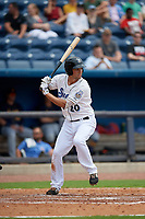 Biloxi Shuckers Patrick Leonard (20) at bat during a Southern League game against the Montgomery Biscuits on May 8, 2019 at MGM Park in Biloxi, Mississippi.  Biloxi defeated Montgomery 4-2.  (Mike Janes/Four Seam Images)
