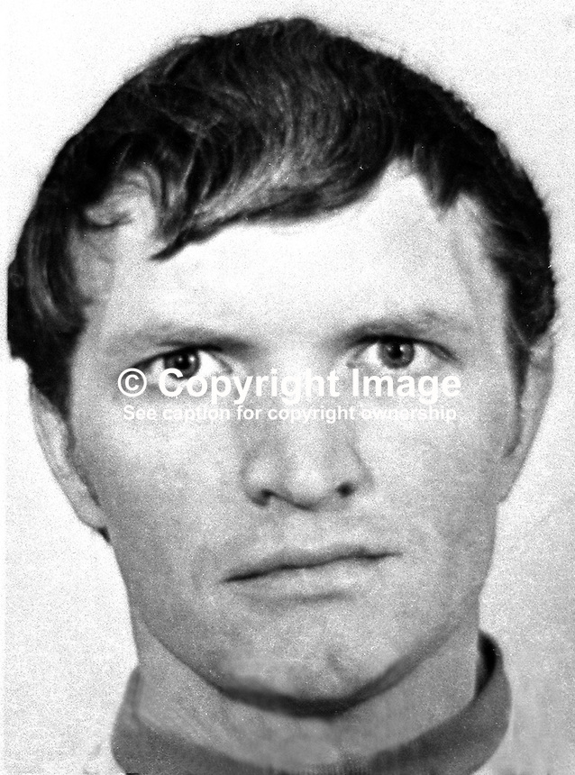 Lance Corporal Alfred Johnston, 32 years,  from Enniskillen, Co Fermanagh, UDR, Ulster Defence Regiment, who died 27 August 1972, along with James Edward Eames, also UDR, when a booby-trapped car abandoned by the Provisional IRA they were examining exploded. 197208270596<br /> <br /> Copyright Image from Victor Patterson, 54 Dorchester Park, Belfast, UK, BT9 6RJ<br /> <br /> t1: +44 28 9066 1296 (from Rep of Ireland 048 9066 1296)<br /> t2: +44 28 9002 2446 (from Rep of Ireland 048 9002 2446)<br /> m: +44 7802 353836<br /> <br /> e1: victorpatterson@me.com<br /> e2: victorpatterson@gmail.com<br /> <br /> The use of my copyright images is subject to my Terms &amp; Conditions.<br /> <br /> It is IMPORTANT that you familiarise yourself with them. They are available on my website at www.victorpatterson.com.<br /> <br /> None of my copyright images may be used on a website unless they are visibly watermarked, i.e. &copy; Victor Patterson within the body of the visible image. Metadata denoting my copyright must NOT be deleted. <br /> <br /> Web use is extra at currently recommended NUJ rates.