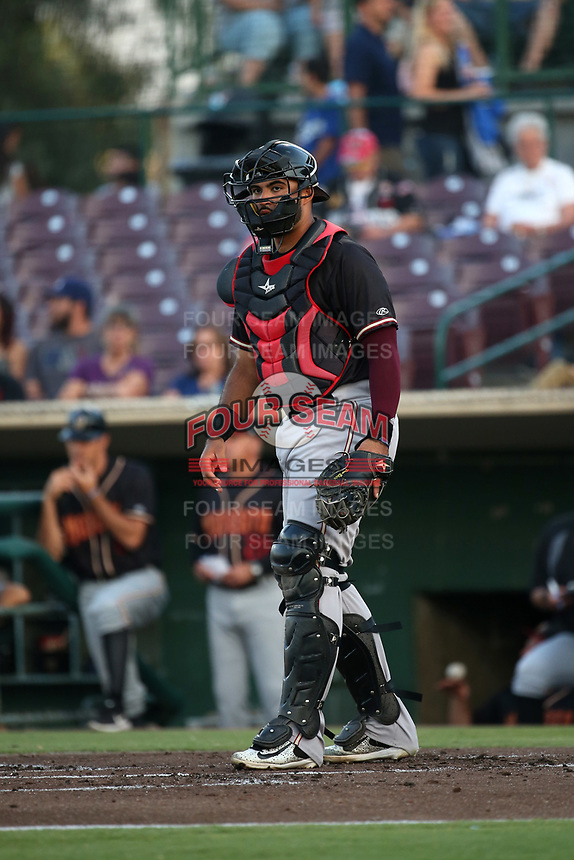 Arturo Nieto (23) of the Modesto Nuts in the field during a game a game against the Inland Empire 66ers at San Manuel Stadium on June 2, 2017 in San Bernardino, California. Inland Empire defeated Modesto, 7-2. (Larry Goren/Four Seam Images)