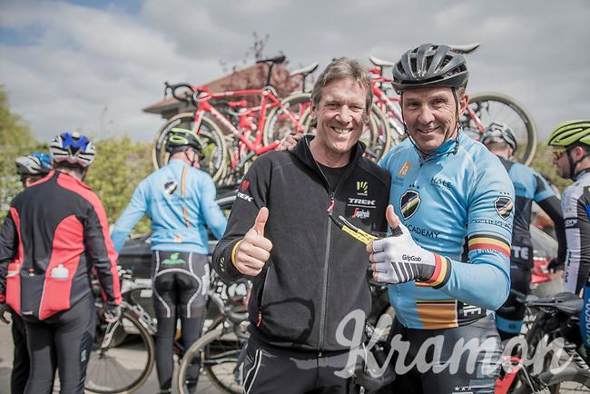 4 Roubaix wins between them: Team Trek-Segafredo DS Dirk Demol & Roubaix legend Johan Museeuw after the team's 2017 Paris-Roubaix recon, 3 days prior to the event.