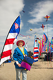 USA, Washington State, Long Beach Peninsula, International Kite Festival, portrait of Sylvia Bernauer, she has been attending for over 25 years