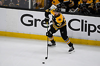 June 12, 2019: Boston Bruins defenseman John Moore (27) in action during game 7 of the NHL Stanley Cup Finals between the St Louis Blues and the Boston Bruins held at TD Garden, in Boston, Mass.  The Saint Louis Blues defeat the Boston Bruins 4-1 in game 7 to win the 2019 Stanley Cup Championship.  Eric Canha/CSM.