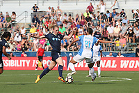 Cary, North Carolina  - Saturday April 29, 2017: Samantha Mewis (5) and Monica Hickmann Alves (21) during a regular season National Women's Soccer League (NWSL) match between the North Carolina Courage and the Orlando Pride at Sahlen's Stadium at WakeMed Soccer Park.
