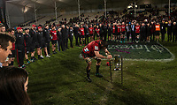 Crusaders captain Sam Whitelock pushing a sword into the pitch on half way following the 2018 Super Rugby final between the Crusaders and Lions at AMI Stadium in Christchurch, New Zealand on Sunday, 29 July 2018. Photo: Joe Johnson / lintottphoto.co.nz