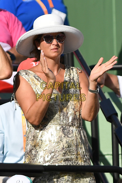 KEY BISCAYNE, FL - MARCH 30 : Mirka Federer is sighted watching Roger Federer Vs Tomas Berdych during the Miami Open at Crandon Park Tennis Center on March 30, 2017 in Key Biscayne, Florida. <br /> CAP/MPI04<br /> &copy;MPI04/Capital Pictures