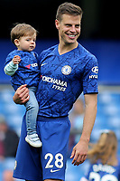 Chelsea's Cesar Azpilicueta walks around the pitch with members of his family after the final whistle to thank the fans for their support during Chelsea vs Watford, Premier League Football at Stamford Bridge on 5th May 2019
