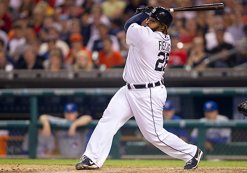 August 21, 2012:  Detroit Tigers first baseman Prince Fielder (28) at bat during MLB game action between the Toronto Blue Jays and the Detroit Tigers at Comerica Park in Detroit, Michigan.  The Tigers defeated the Blue Jays 5-3.