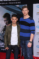 """Jean-Luc Bilodeau, Derek Theler<br /> at the """"Captain America: The Winter Soldier"""" Los Angeles Premiere, El Capitan, Hollywood, CA 03-13-14<br /> David Edwards/DailyCeleb.com 818-249-4998"""