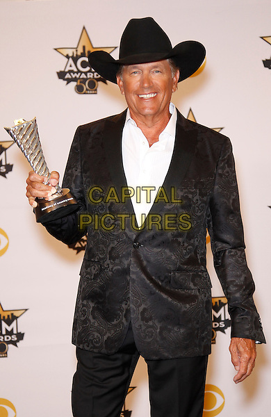 19 April 2015 - Arlington, TX -   George Strait.  The 2015 ACM Awards at AT&amp;T Stadium- Press Room<br /> CAP/ADM/MJT<br /> &copy; MJT/AdMedia/Capital Pictures