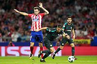 Atletico de Madrid's Saul Niguez (l) and Chelsea FC's Eden Hazard (c) and Cesc Fabregas during Champions League 2017/2018, Group C, match 2. September 27,2017. (ALTERPHOTOS/Acero)<br /> Champions League 2017/2018 <br /> Atletico Madrid - Chelsea <br /> Foto Alterphotos / Insidefoto