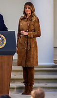 First lady Melania Trump looks on as she and United States President Donald J. Trump present the National Thanksgiving Turkey in the Rose Garden of the White House in Washington, DC on Tuesday, November 26, 2019.<br /> CAP/MPI/RS<br /> ©RS/MPI/Capital Pictures