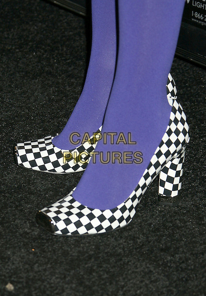 SOLANGE KNOWLES.PEOPLE Magazine and the Recording Academy Host Kick-Off Party for the 50th Annual GRAMMY Awards at Avalon, Hollywood, California, USA,.06 December, 2007..black and white checked gingham shoes purple tights feet detail square toe.CAP/ADM/RE.©Russ Elliot/AdMedia/Capital Pictures.
